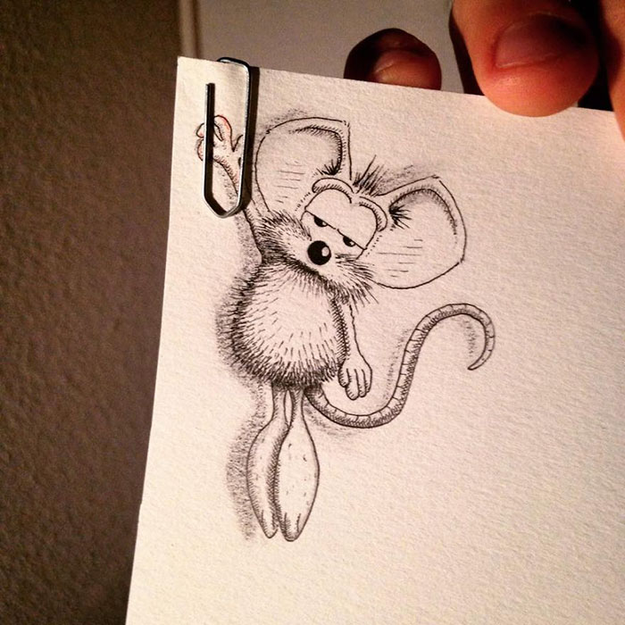 Sketch Images For Drawing: Cute Cartoon Mouse Just Won't Stay Inside The Page